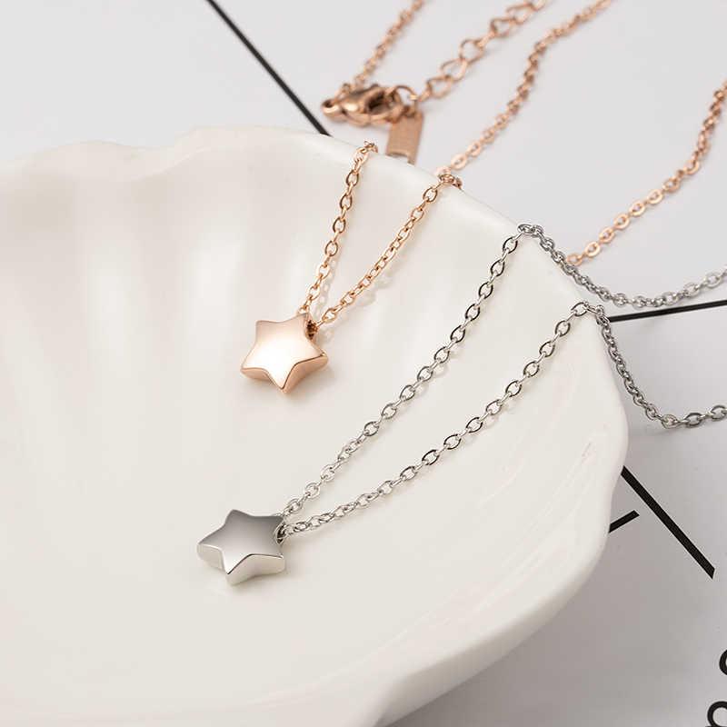 כוכב קטן תליון שרשרת עלה זהב כסף צבע טיטניום נירוסטה שרשרת שרשרת אופנה טרנדי נשים תכשיטי מתנה