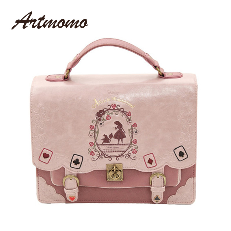 Alice In Wonderland Shoulder Bags axes femme vintage student schoolbag playing cards Silhouette handbag leather bagAlice In Wonderland Shoulder Bags axes femme vintage student schoolbag playing cards Silhouette handbag leather bag