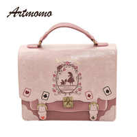 Alice In Wonderland Shoulder Bags axes femme vintage student schoolbag playing cards Silhouette handbag leather bag