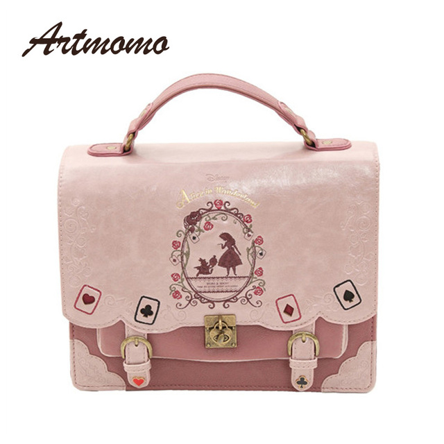 Alice In Wonderland Shoulder Bags axes femme vintage student schoolbag playing cards Silhouette handbag leather bag