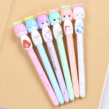 36 Pcs/lot Small Fresh Japanese Doll Colored Gel Pens for Writing Cartoon 0.38mm Black Ink Roll Pen Office School Supplies