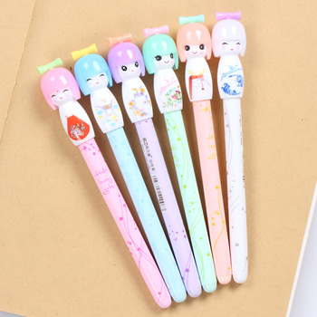 36 Pcs/lot Small Fresh Japanese Doll Colored Gel Pens for Writing Cartoon 0.38mm Black Ink Roll Pen Office School Supplies 24 pcs lot silicone snail gel pens 0 5mm black ink pen cartoon stationery office school supplies caneta escolar