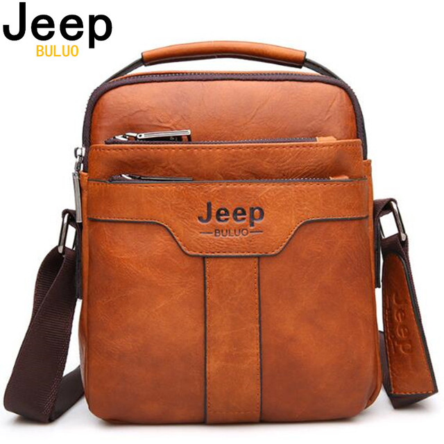 JEEP BULUO Brand Men Messenger Bags Large Capacity Handbag For Man Spliter Leather Shoulder Bag Crossbody Brown Business Casual