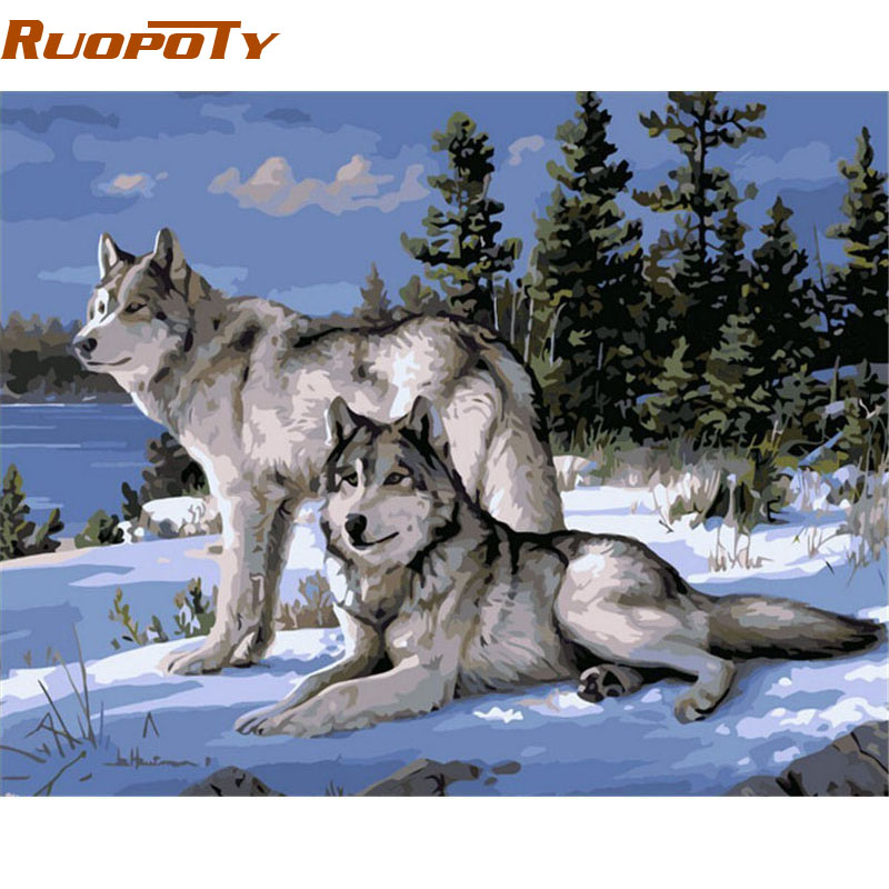RUOPOTY Frame Wolf Animals DIY Painting By Numbers Modern Wall Art Hand painted Oil Painting On Canvas For Room Decor Artwork