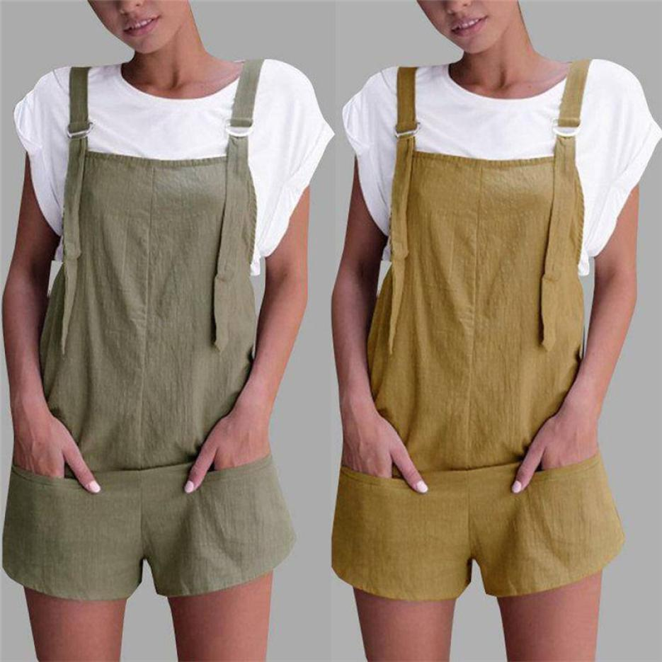 Women Elastic Waist Dungarees Linen Pockets Rompers Playsuit Shorts Cotton Solid Loose Womens Summer Jumpsuit