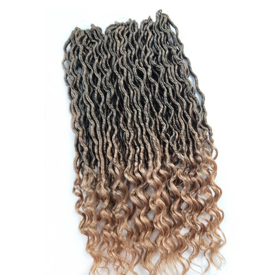 Pervado Hair 22inch Black Brown Crochet Braids Goddess Locs Synthetic Hair Extensions Af ...