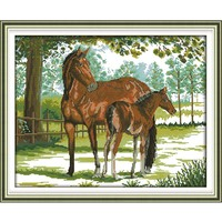 Cross stitch embroidery kits, DIY cross stitch, set embroidery suit, print Old horse and son canvas for embroidery