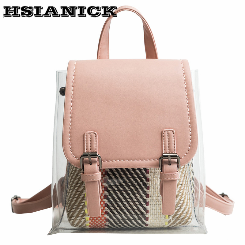 Fashion backpack bag female 2018 summer new hit color transparent bag personality shoulder bag fashion high quality backpack