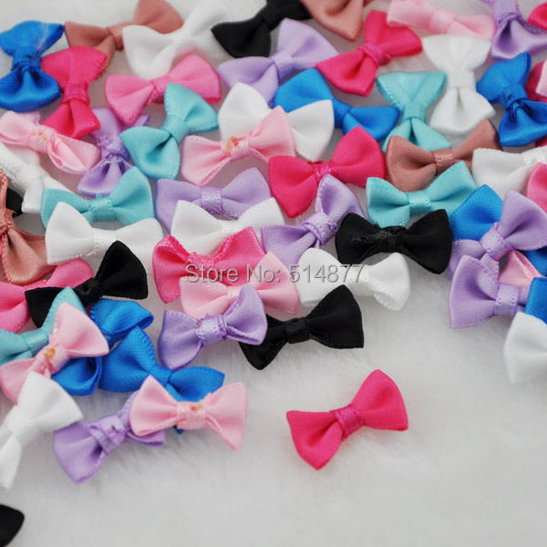 30 pcs Small Satin Ribbon Bows Flower Appliques sew Craft Kid s cloth Lots  Upick B128 a2a72494ef77
