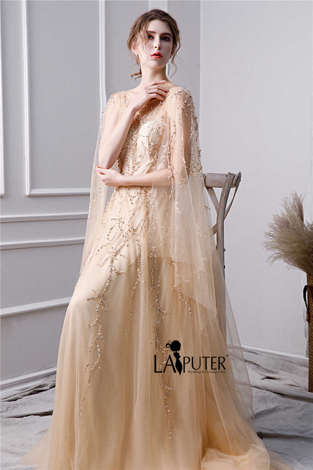 f3c02d8e83234 ... LAIPUTER 2019 New Evening Dresses with Luxury Beading Crystal Scoop  Neck V-back Cape Champagne