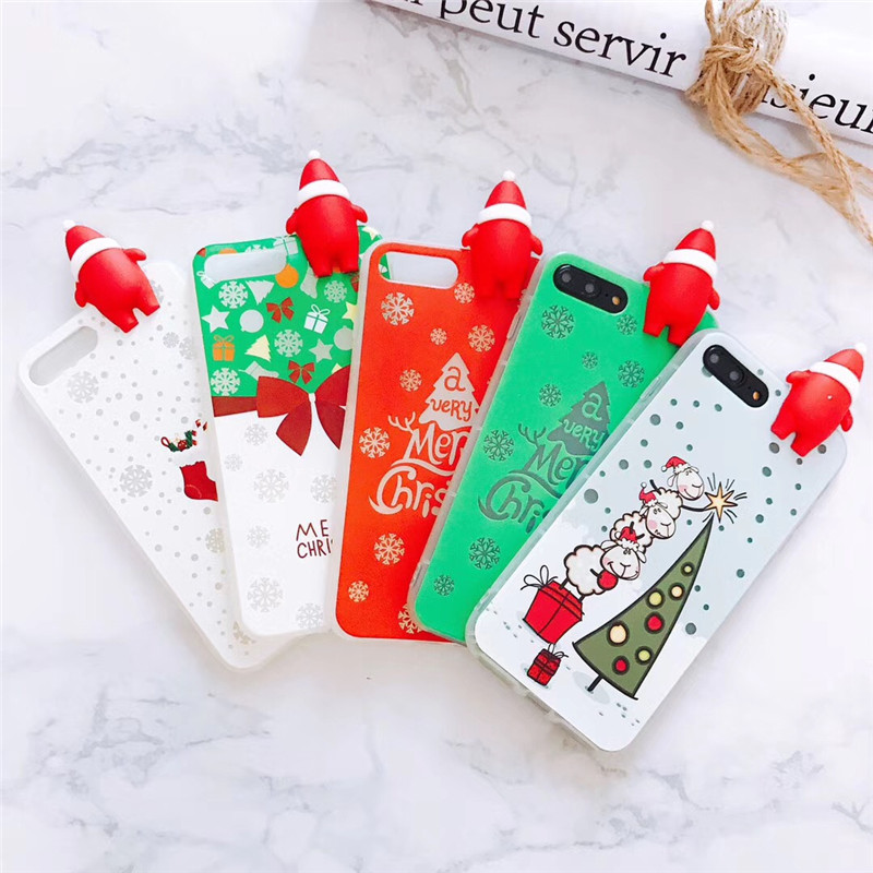 BOOGIC Merry Christmas Luminous Case For Apple iPhone 7 X 8 6 6S Plus Glowing in the dar ...