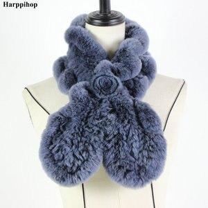 Image 5 - 2018 レックスウサギの毛皮のスカーフファッションネックウォーマー女性リアルファーショールロシア 100% 自然毛皮スカーフラップ冬 * Harppihop