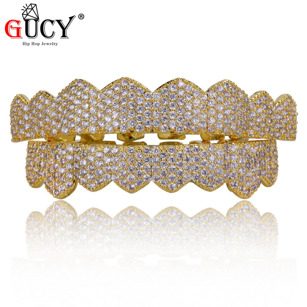 GUCY Custom Fit Gold Silver Color All Iced Out Hip Hop Teeth Grillz Micro Pave Cubic Zircon Eight Top & Bottom Teeth Grills Set