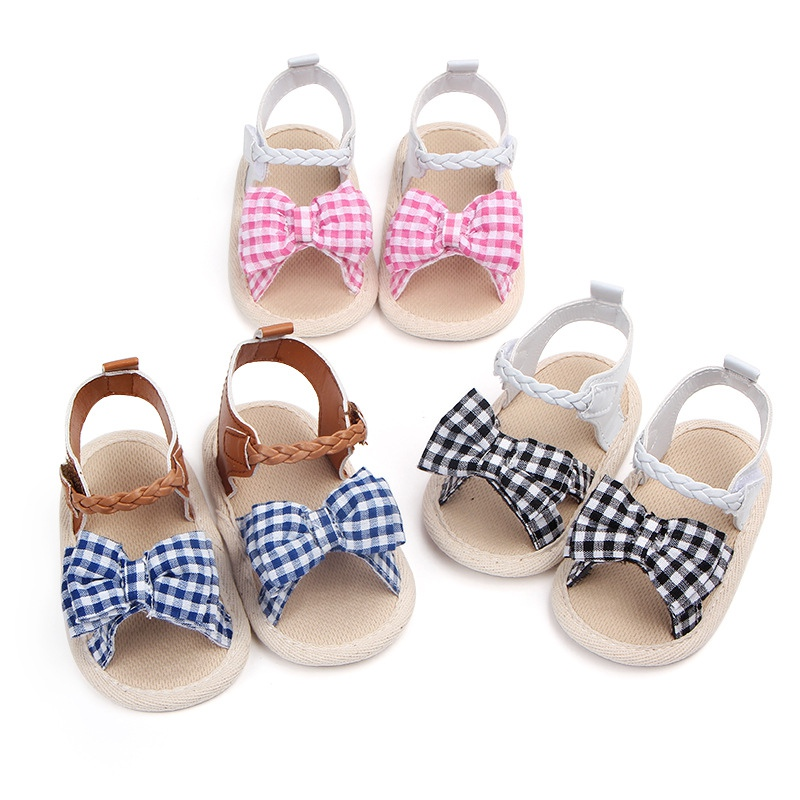 Summer Baby Shoes Soft Sole Plaid Anti-slip Flower Pattern Crib Shoes Canvas First Walkers