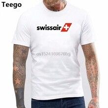 96efd871b40644 Unisex Swissair Vintage Logo Swiss Airline Aviation T-Shirt Cotton Uniform  Tee(China)