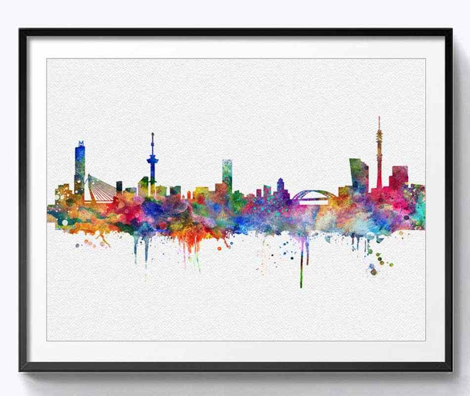 Rotterdam Wall Hanging Skyline Wall Decor Rotterdam Art Print Watercolor Fine Art Paper Rotterdam Skyline City Poster  Painting