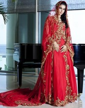 Dubai Kaftan Red Muslim Wedding Dress Sweetheart Appliques Floor Length Islamic Wedding Gowns with Hijab Fast Delivery By Aramex