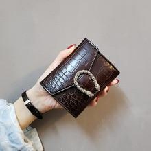 Women's short wallet 2019 retro wild wallet women's crocodile pattern buckle wallet simple fashion ladies clutch Free shipping