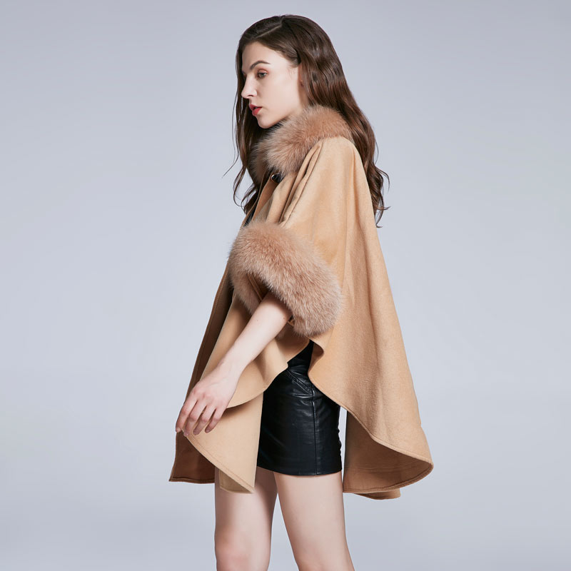 2018 Veste Nouveau Hiver B Et Femmes En De a Fourrure Conception Furry Couleur Noce Châle Cachemire Renard Cuir Automne Col Solide Chaud Manteau HRxHqn1