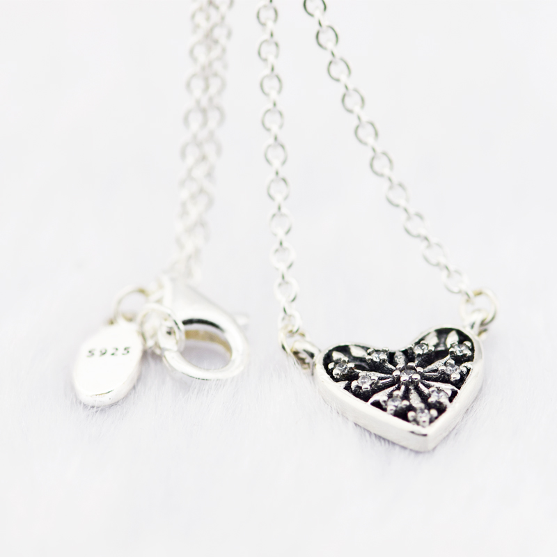 Heart of Winter Necklace Clear CZ Fashion 925 Sterling Silver Jewelry Choker Necklaces for Women Crystal Snowflake Pendant Chain
