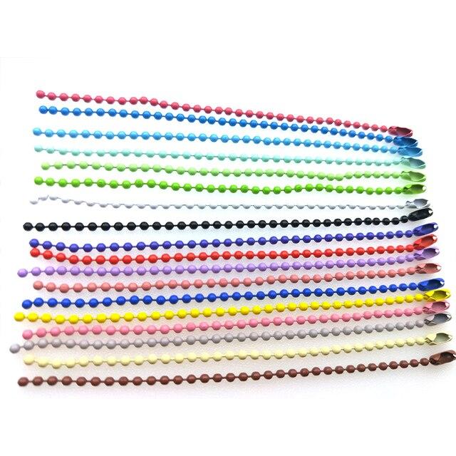 1 paquete al por mayor lotes a granel coloridos 2,4mm bolas cadena bola cadenas con conector para DIY accesorios llave cadena