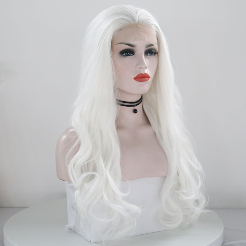 """Image 5 - JOY&BEAUTY White Pink Red Long Wig Synthetic Lace Front Wig  Heat Resistant Fiber 26"""" Natural Long Wavy Wig for White Women-in Synthetic Lace Wigs from Hair Extensions & Wigs"""