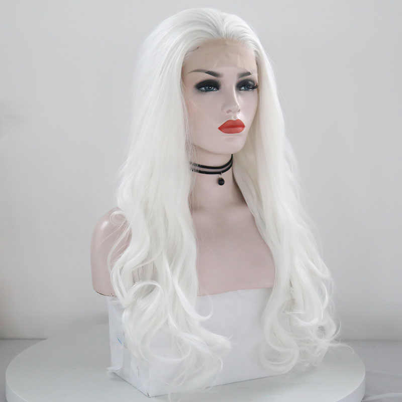 """JOY & BEAUTY белый розовый красный длинный парик Синтетический кружевной передний парик жаропрочное волокно 26 """"натуральный длинный волнистый парик для белых женщин"""