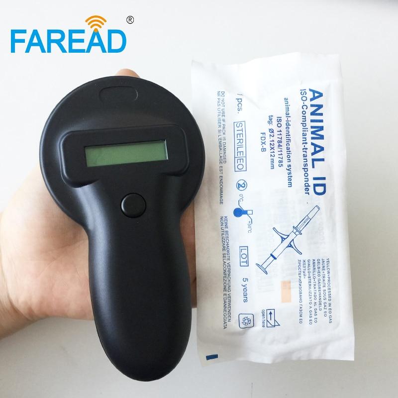 Free Shipping X1pc RFID FDX-B Transponder Animal Chip Pet ID Reader+ X100pcs ISO 134.2KHz Microchip Injectable Syringe 2.12x12mm