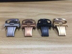 Image 5 - 23mm (klamra 20mm) T035617A wysokiej jakości srebrna klamra motylkowa + T035439 czarne prawdziwa skóry zakrzywiony koniec paski Watchband człowiek