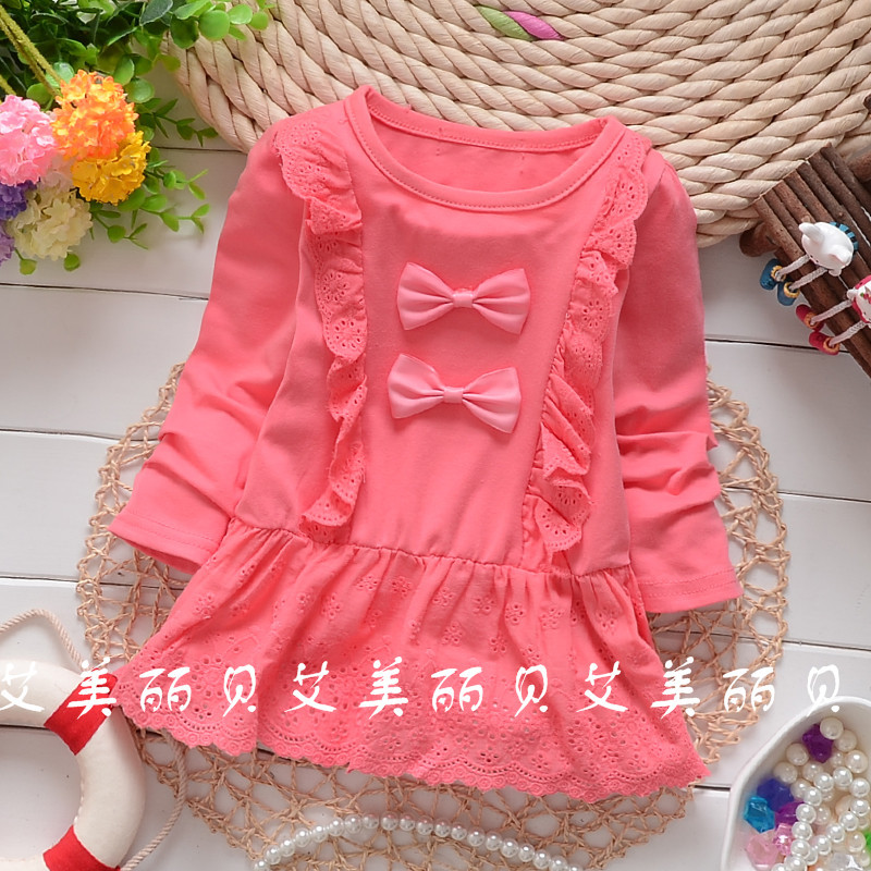 Hot Sale! 2016 Spring Autumn baby girls Two bow lace solid color shirt child long sleeve tops tees clothing free shipping