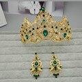 Europeu Retro Banhado A Ouro Íris Vetiver Verde Coroa Do Cabelo Do Casamento Strass Noivas Quinceanera Pageant Tiaras Jóias Cabeça