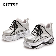 Hot sale woman shoes Ultralight sneakers 2019 New Autumn ladies leather Thick bottom Sneakers Women casual Lace-up