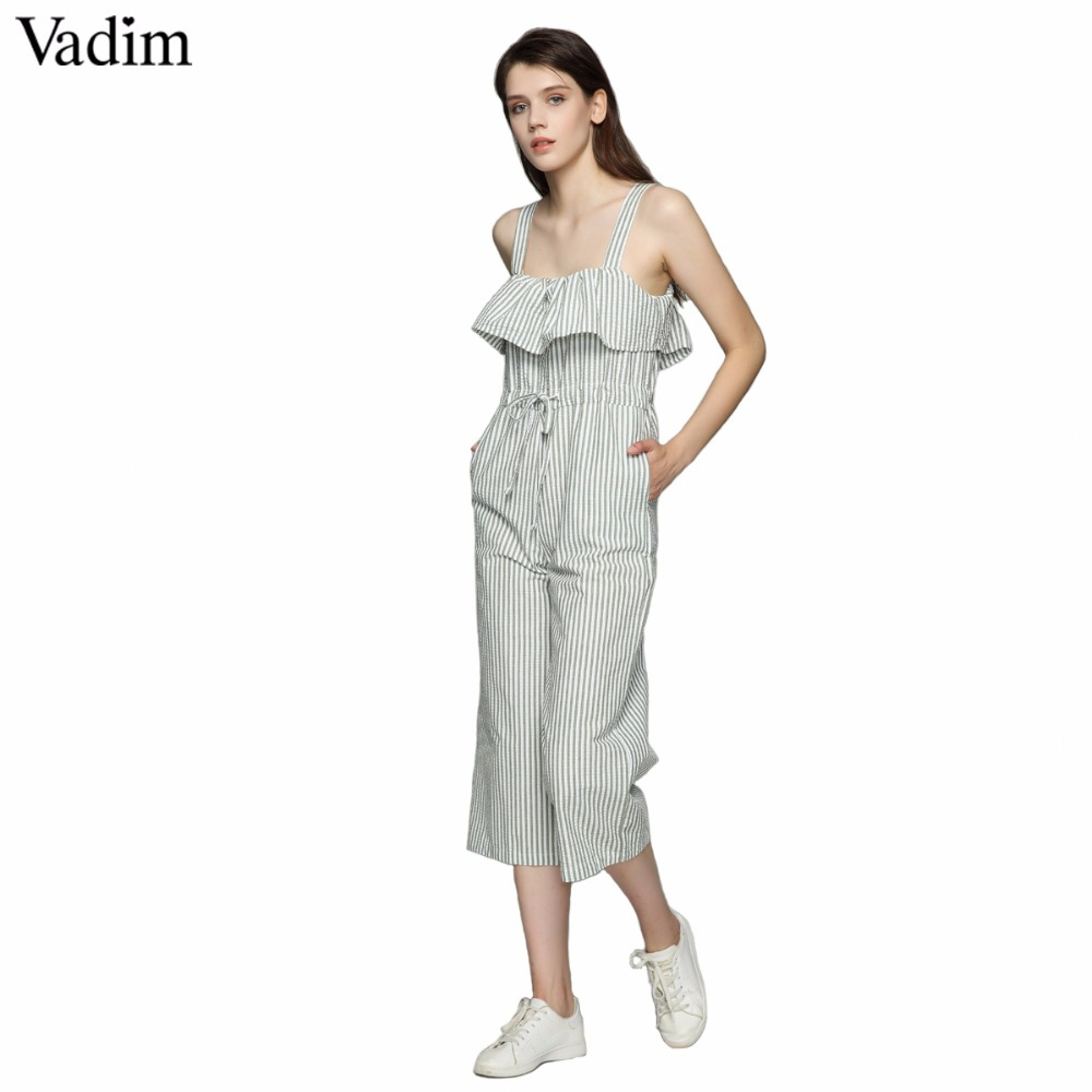 d74a77ce48 Vadim women sweet bow ruffles striped jumpsuits pockets straps pleated  rompers ladies summer casual chic playsuits KA011-in Jumpsuits from Women s  Clothing ...