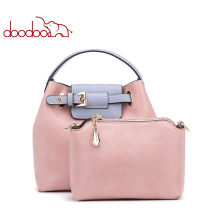 Women Handbag Tote Bucket Bag Female Shoulder Crossbody Female Pu Leather Decorative Belt Spell Color Top-handle Bag New Design