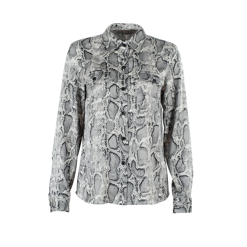 Image 3 - OOTN Womens Office Tops Long Sleeve Snake Skin Tunic Blouse Female Button Down Animal Print Shirts Vintage Casual StreetwearBlouses & Shirts   -