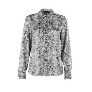 Image 3 - Ootn blusa feminina de manga longa, para escritório, feminina, de cobra, botão para baixo, estampa animal, vintage, casual