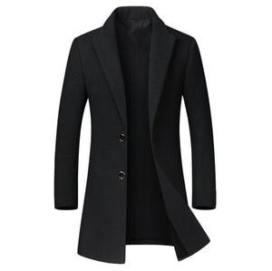 Image 2 - Kış yün ceket erkekler yüksek kaliteli yün ceket rahat ince yaka yün ceket erkek uzun pamuklu yaka trençkot
