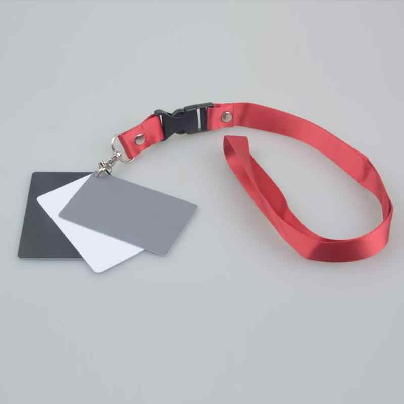 N//V 3 in 1 Pocket-Size Digital Camera 18/% White Black Grey Balance Cards with Neck Strap for Digital Photography White