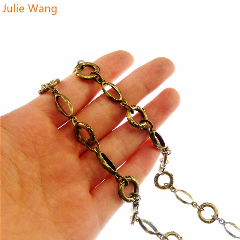 Julie Wang 1 meter pack Antique Bronze Vintage Metal Link Chain For Necklace Bracelet Women Decorate Jewelry Making Accessory in Jewelry Findings Components from Jewelry Accessories