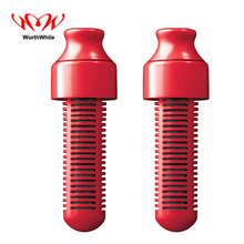 WorthWhile 2 Pcs Water Filter Activated Carbon Portbale Safety Survival Kits Outdoor Camping Hiking Replace Head without Bottles