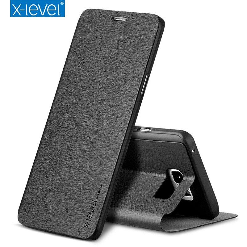 imágenes para X-nivel Para Samsung Galaxy caja del teléfono S7 S7 borde todo incluido de lujo voltear funda protectora con la función del sostenedor de Nota 5