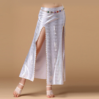 11 Colors Performance Belly Dance Clothes Long Wrapped Skirts Professional Women Satin Belly Dance Skirt