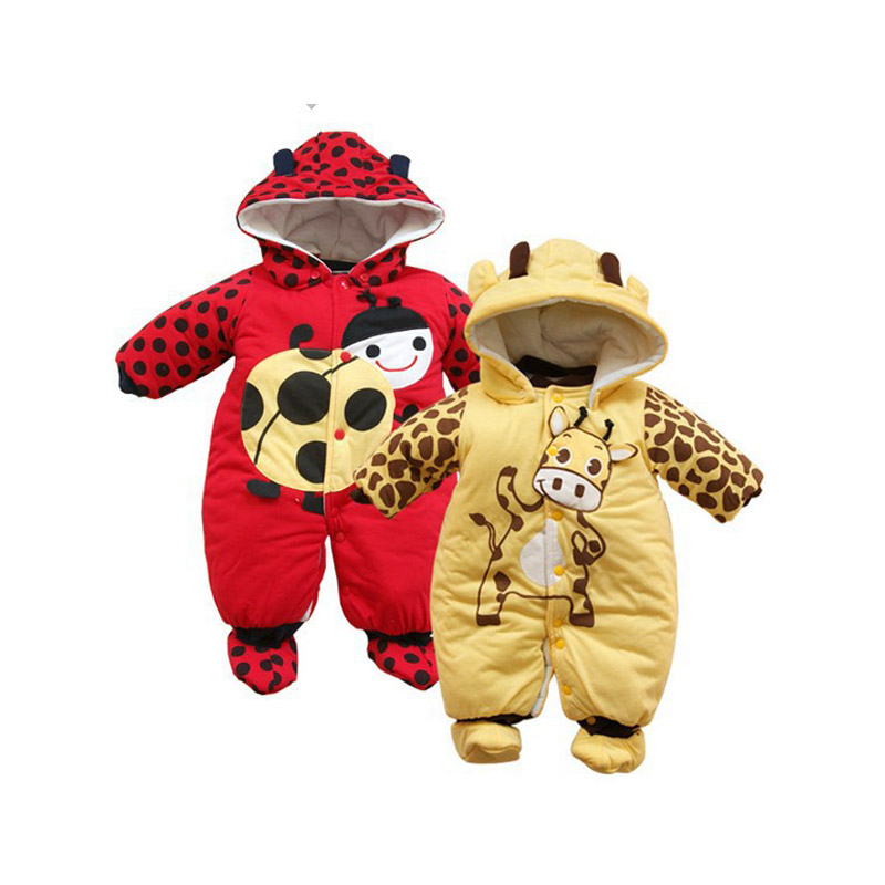 Baby Rompers Boys Girls Winter Newborn Children Clothes Warm Jumpsuit Print Animal Costume Infant Kids Robe Baby Clothing V49 winter newborn bear jumpsuit patchwork long sleeve baby rompers clothes baby boys jumpsuits infant girls clothing overall