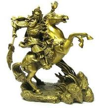 "Grand laiton petit Dragon chinois guerrier Guan Gong/Yu sur cheval Statue 7 ""H or décoration 100% laiton laiton(China)"