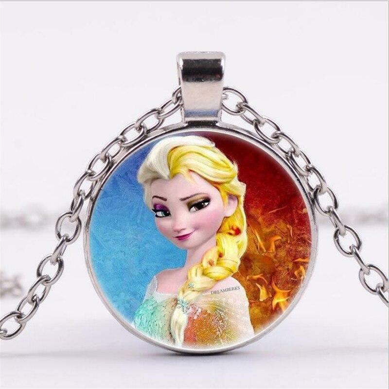 Новая мода популярное женское ожерелье Кристалл ювелирные изделия выпуклая круглая Принцесса Подвеска Ожерелье Девушка - Окраска металла: 20