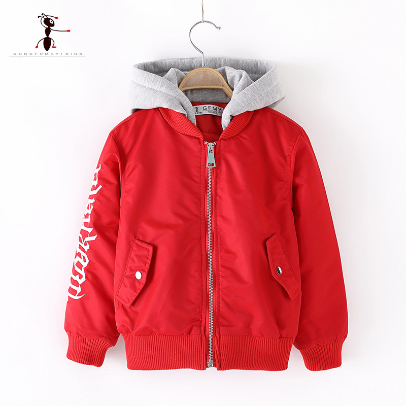 2018 Kung Fu Ant Brand Winter Kids Outerwear Boys Casual Warm Hooded Jacket for Boys Solid Boys letter zipper Warm Coats 3268 цена 2017