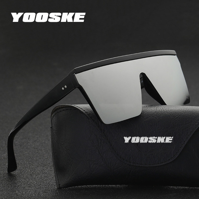 YOOSKE Oversized Sunglasses Men Vintage Brand Driving Sun Glasses Women Flat Top Big Frame Sunglass Retro Siamese Eyewear UV400