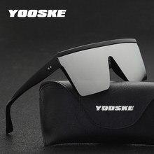 YOOSKE Oversized Sunglasses Men Vintage Brand Driving Sun Glasses Women Flat Top