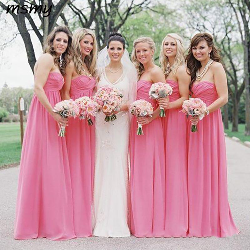 Pink Bridesmaid Dresses Cheap 2019 Floor Length Maid Of