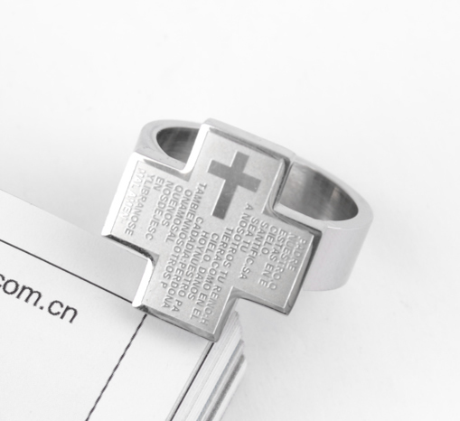 free shipping wholesale 316L Stainless Steel finger rings for men silver increase Cross Bible jewelry